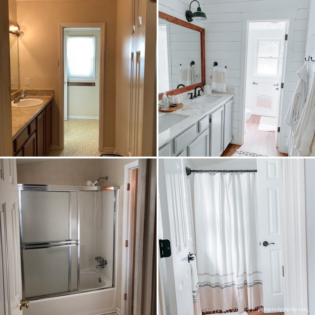 Bathroom Reveal - Shows the before and after of this farmhouse bathroom reveal. The two left images are tan and dated and the two right images are light and bright with white shiplap walls and warm wood tones in the floor and mirror frame.