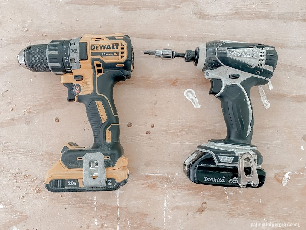 For beginner DIYers I have a drill on the left and an impact driver on the right. The drill is black and yellow and is a DeWalt. The impact driver is black and grey.