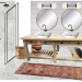 Master Bathroom Moodboard with two sinks, round mirrors, a stand up shower, baskets , and a colorful runner.