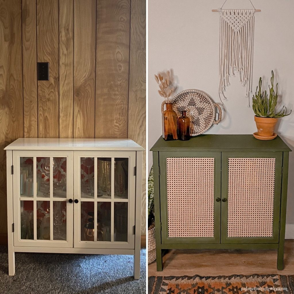 A before and after image. The left cabinet is white and plane white the second cabinet is green with caning in the place of the glass and white bars.
