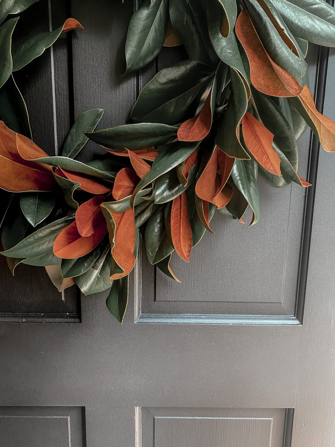 Magnolia Wreath on a black door