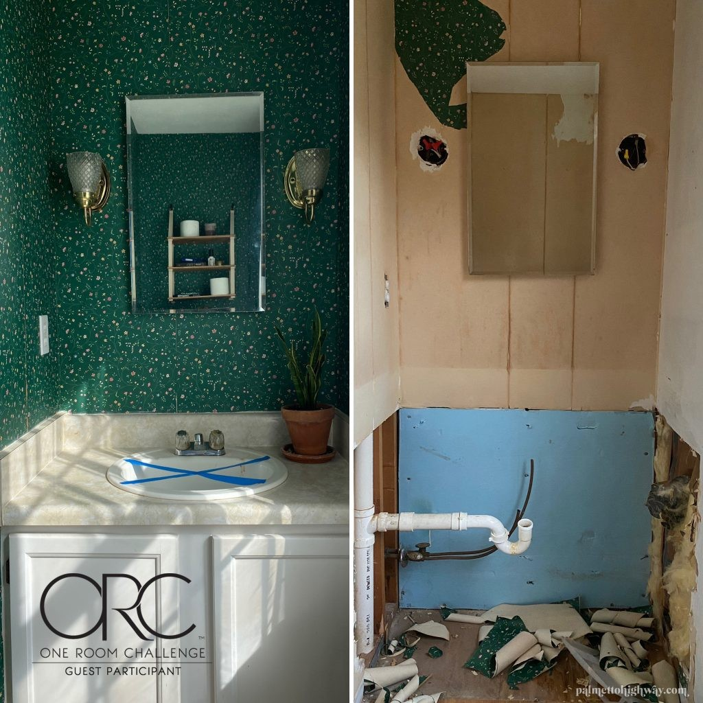 Powder room vanity before and after. The before has cabinets and green wallpaper, the after only has a pipe coming out of the wall and no wallpaper.