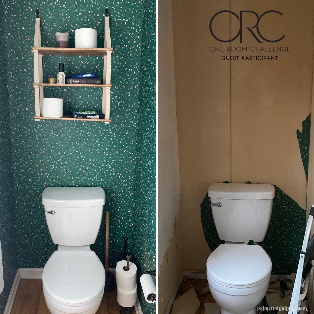 Powder room vanity before and after. The before has green wallpaper, the after doesnt have wallpaper, just the adhesive remains.