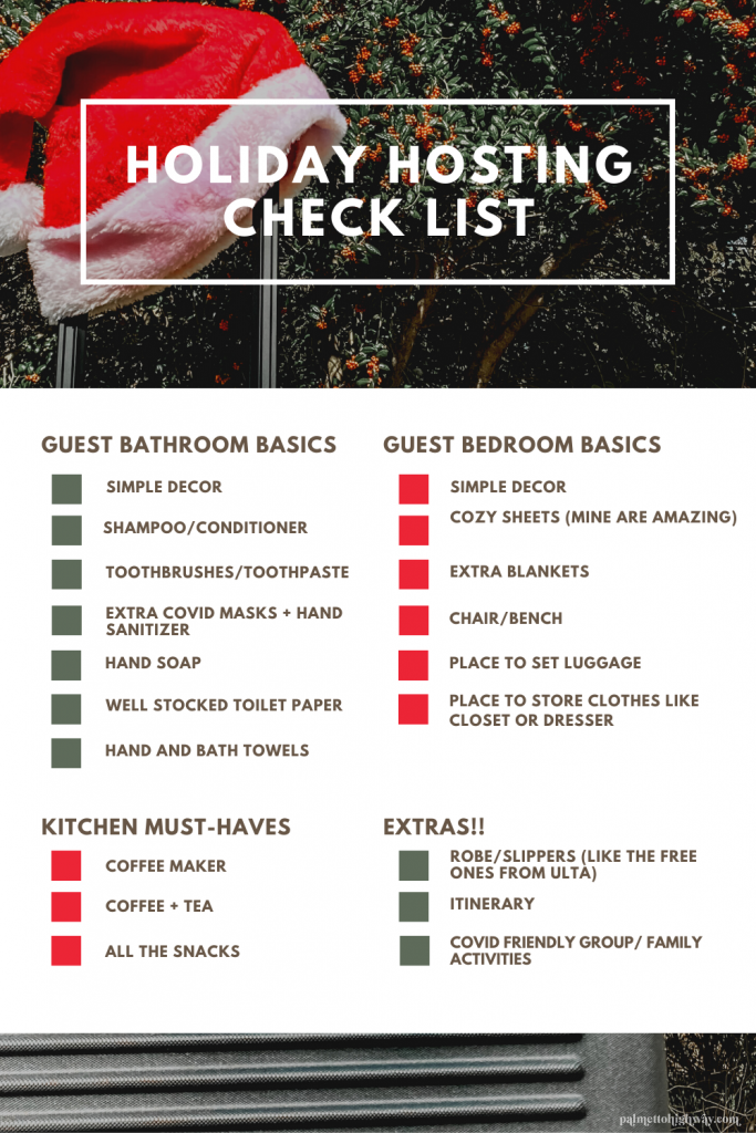 This is a Pinterest graphic showing a holiday hosting checklist for how to prepare for holiday guests