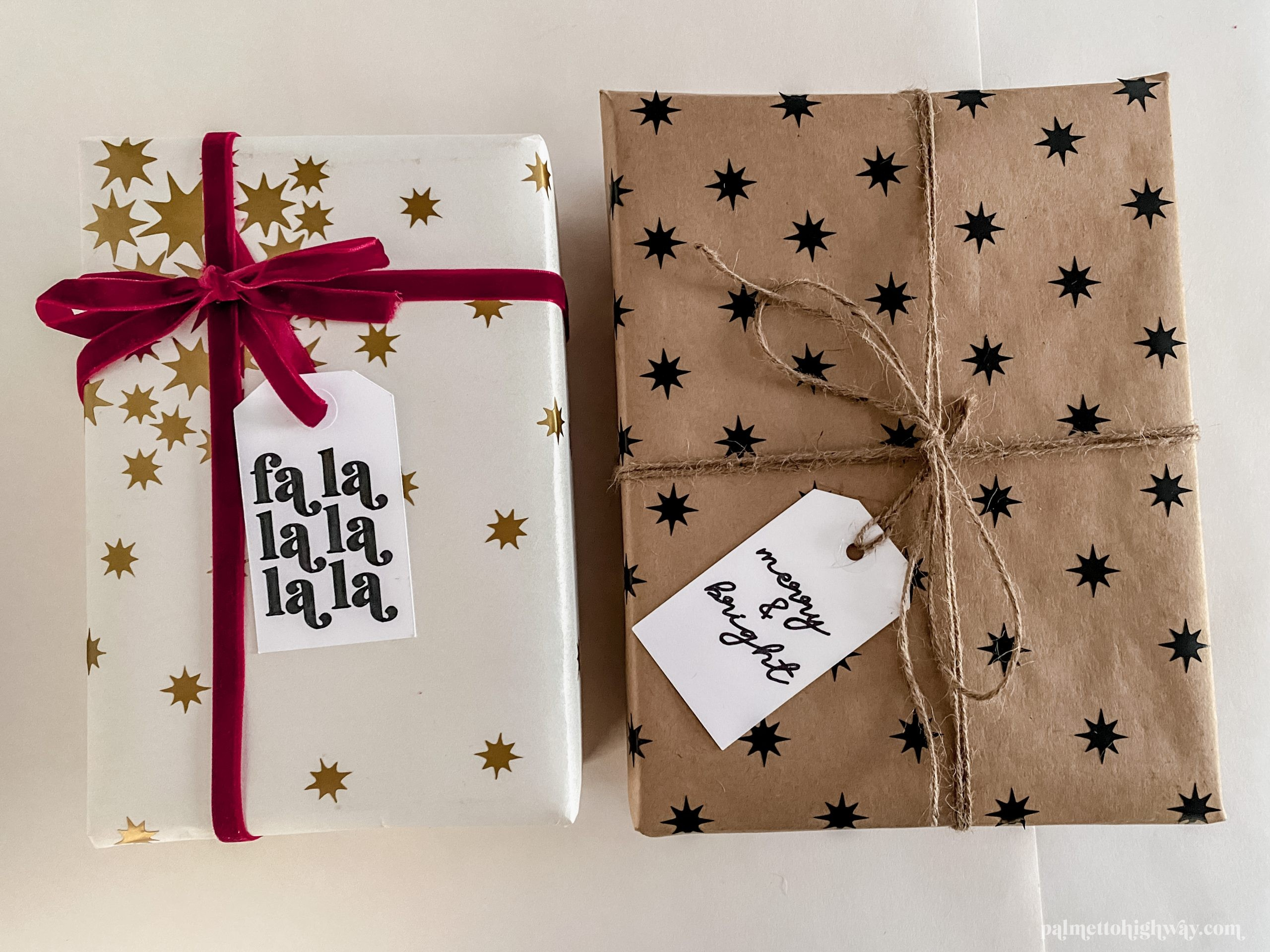 Gift wrapping example with star stickers