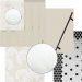 This is a graphic that shows materials for the laundry room project. There is a round mirror, a floral cream and white wall paper, black and white tile, cream paint, and blank pulls for the cabinets.