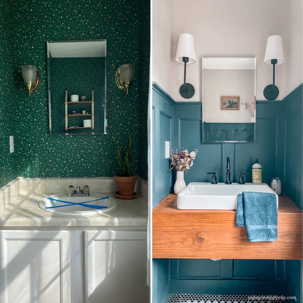 This is a before and after of the vanity. The before is on the left with green wallpaper, dated sconces, and a non-functioning sink. On the right is a refreshed room with a new sink and faucet with blue board and batten and a diy wood vanity.