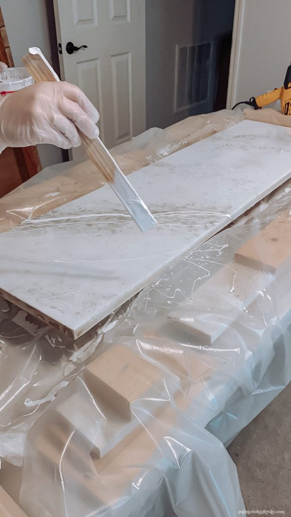 Marble Epoxy Countertops- White veining