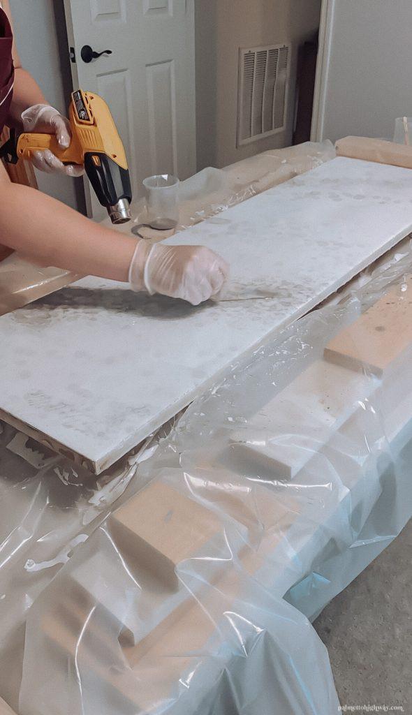 Marble Epoxy Countertops - adding more veining