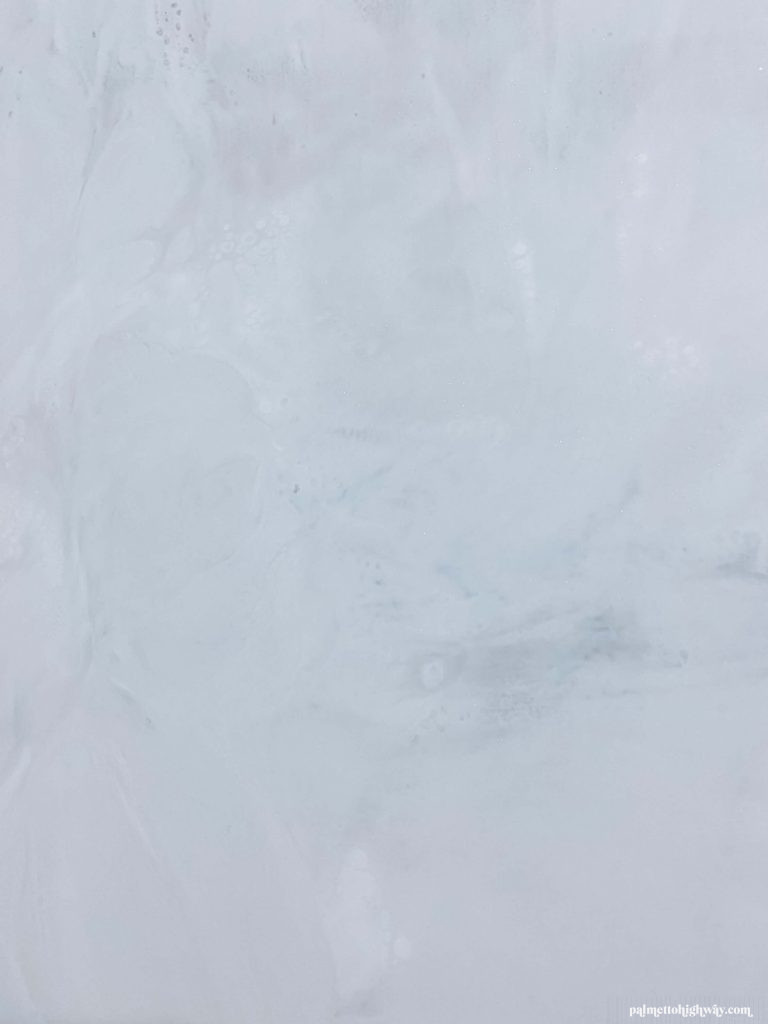 Marble Epoxy Countertops - close up of dirty pour dry 2