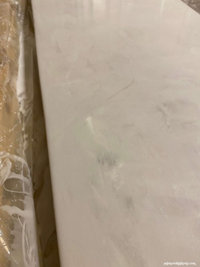 Marble Epoxy Countertops - close up of dirty pour dry