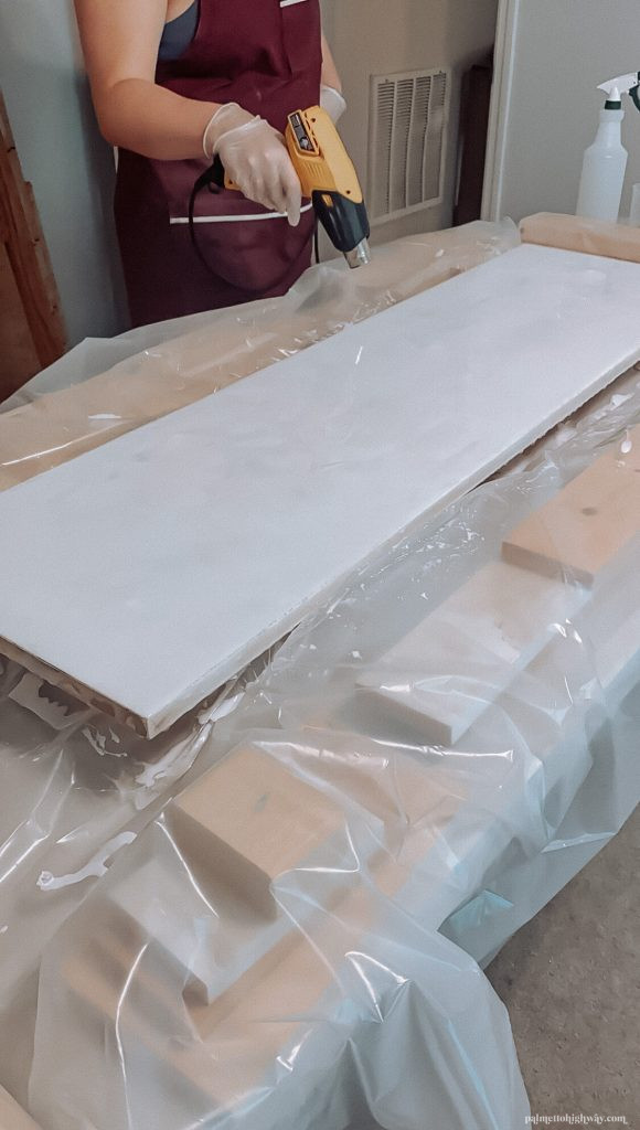 Marble Epoxy Countertops - heat gun after dirty pour