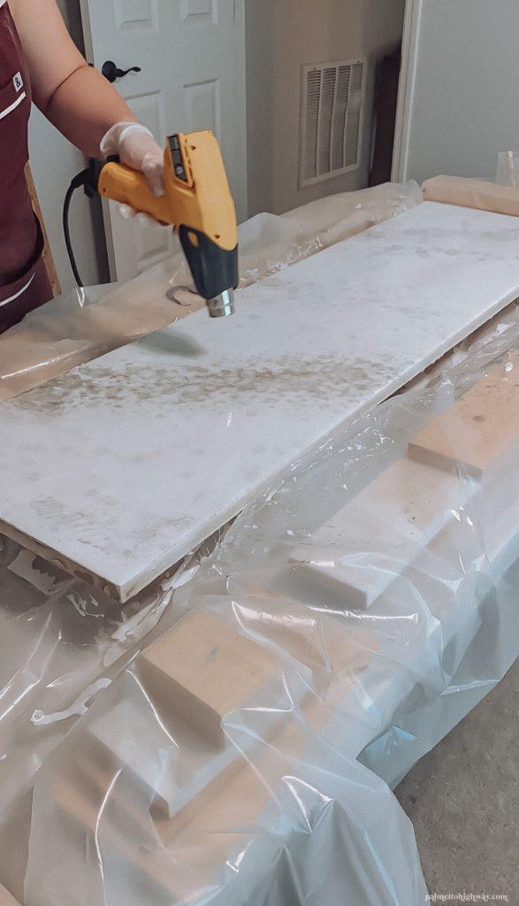 Marble Epoxy Countertops - heat gun on veining