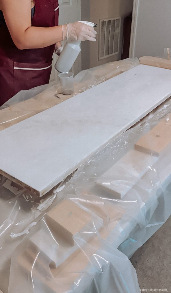 Marble Epoxy Countertops - pigment spray
